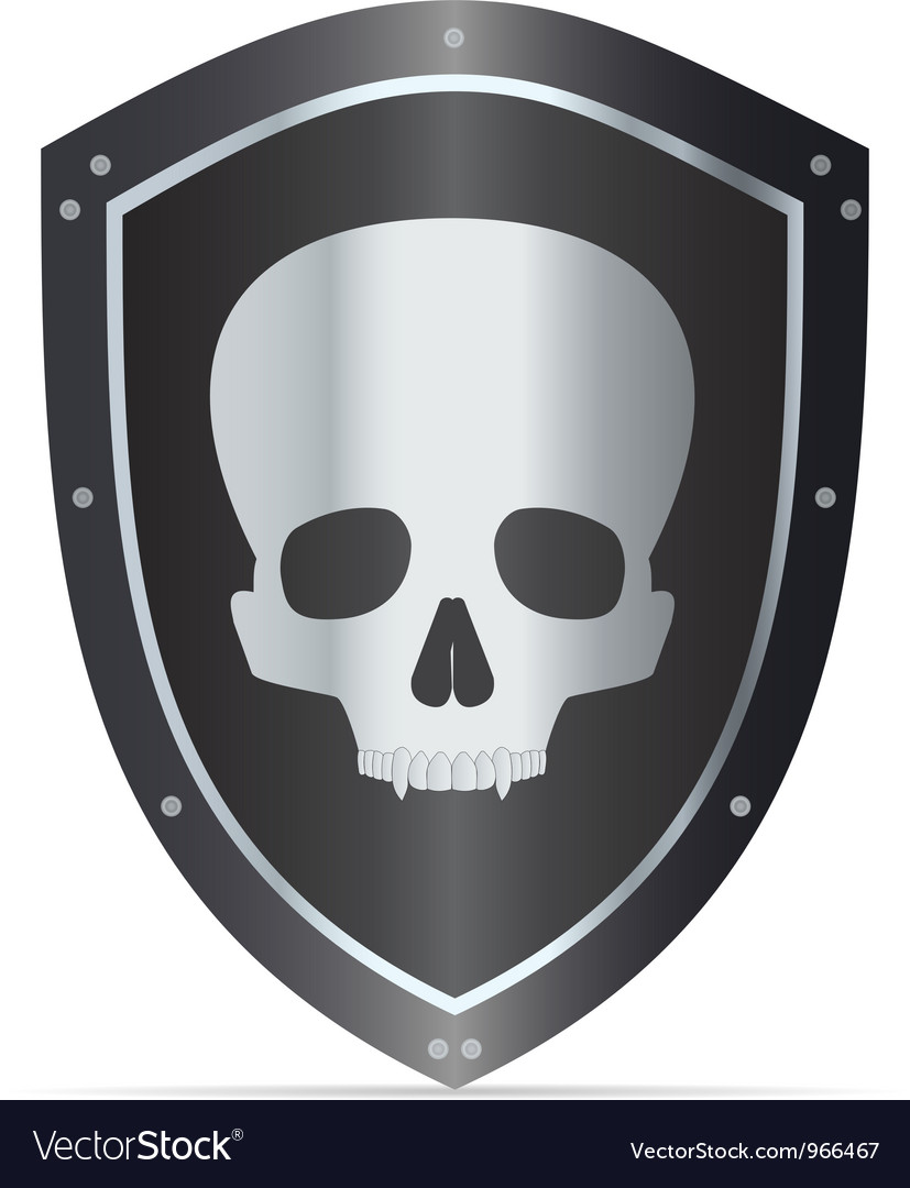 Black shield with skull vector image