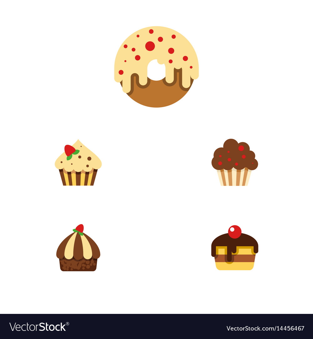 Flat cake set of confectionery doughnut cupcake vector image