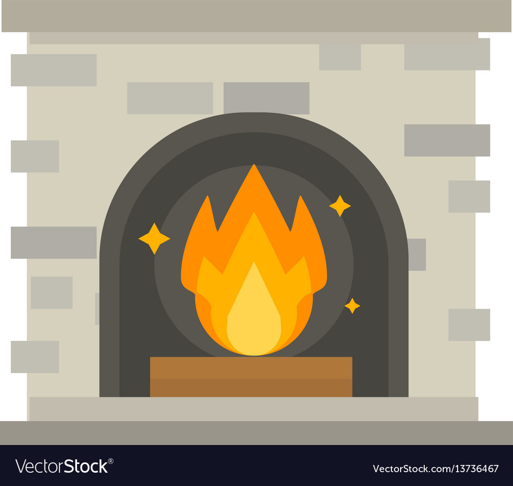Flat style fireplace icon design house room warm
