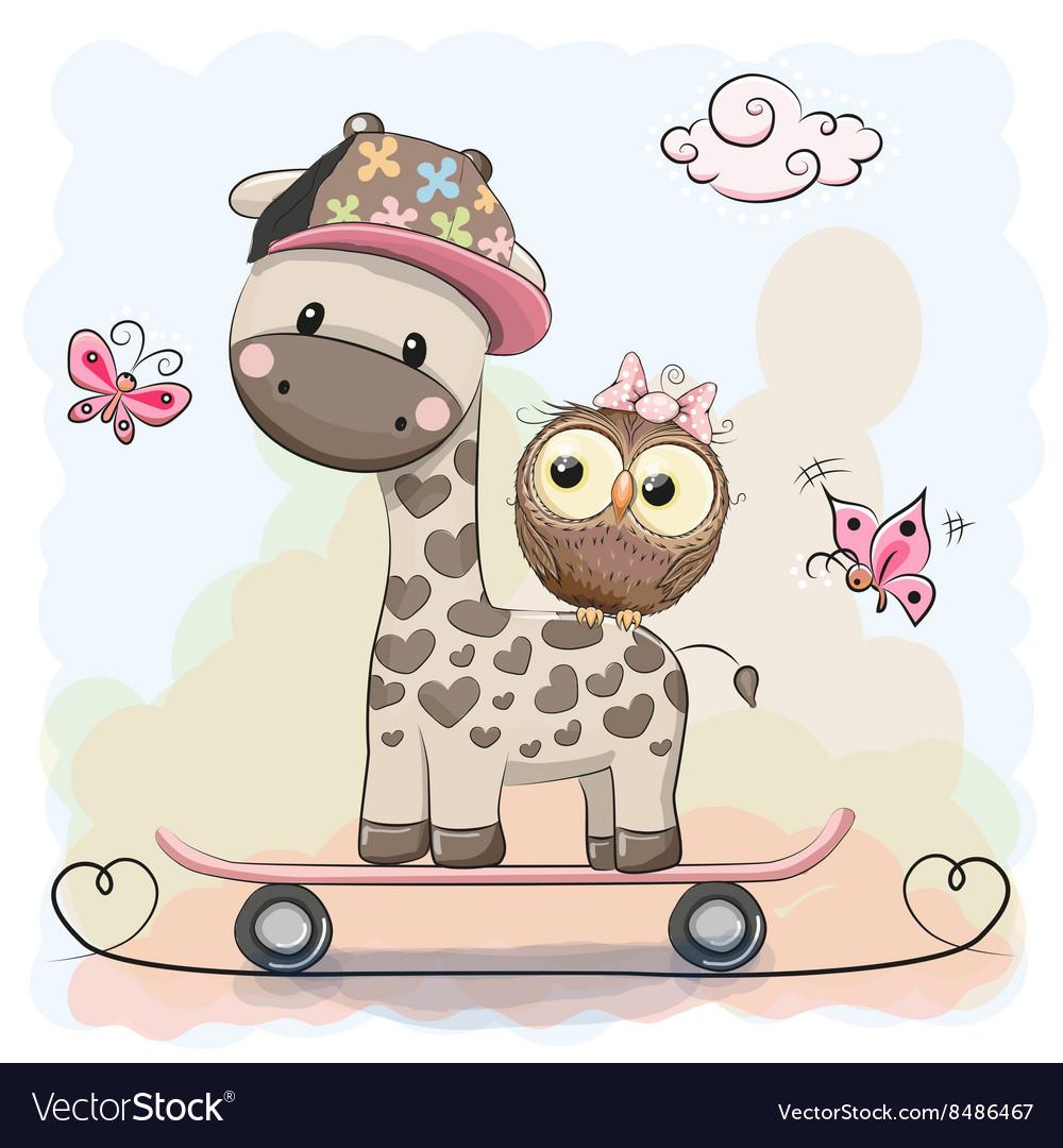 Giraffe and owl