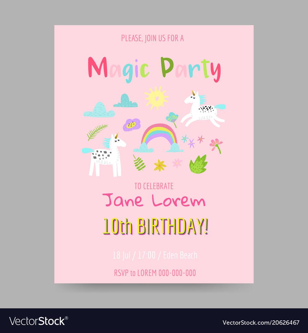 Greeting card with cute magic unicorns rainbow