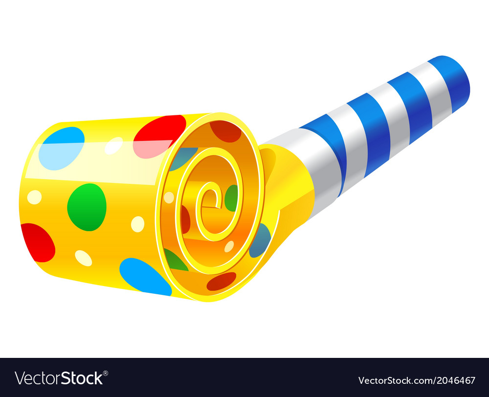 birthday blower Party Horn Blower Royalty Free Vector Image   VectorStock birthday blower