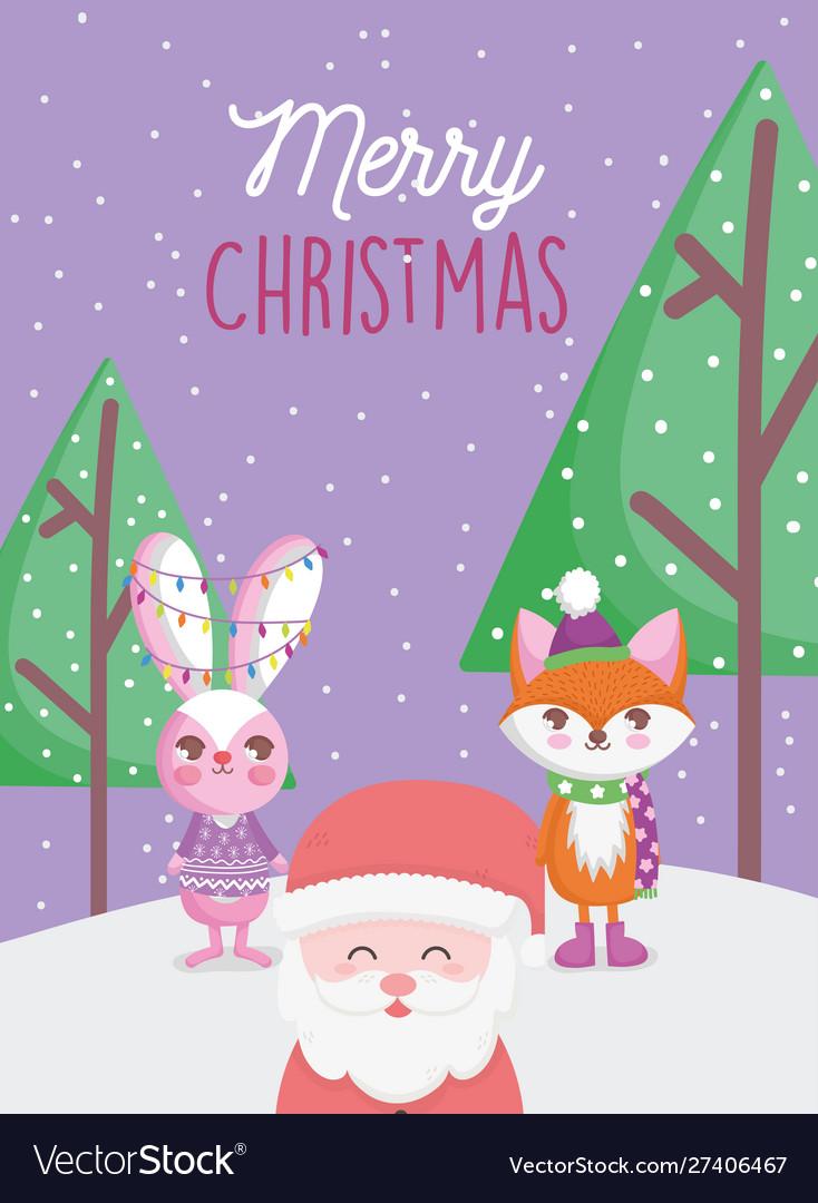 Santa fox and rabbit lights trees snow merry