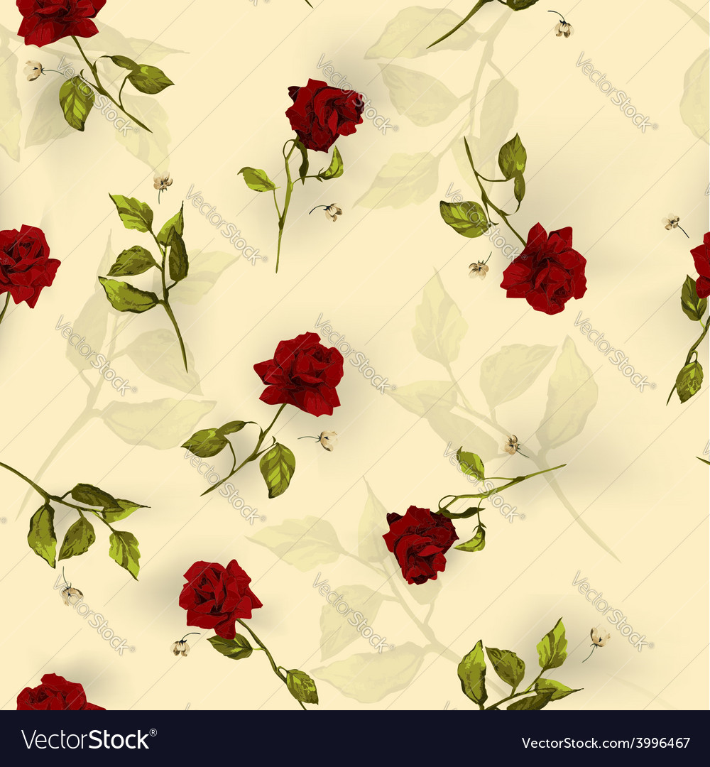 Seamless floral pattern with red roses on light