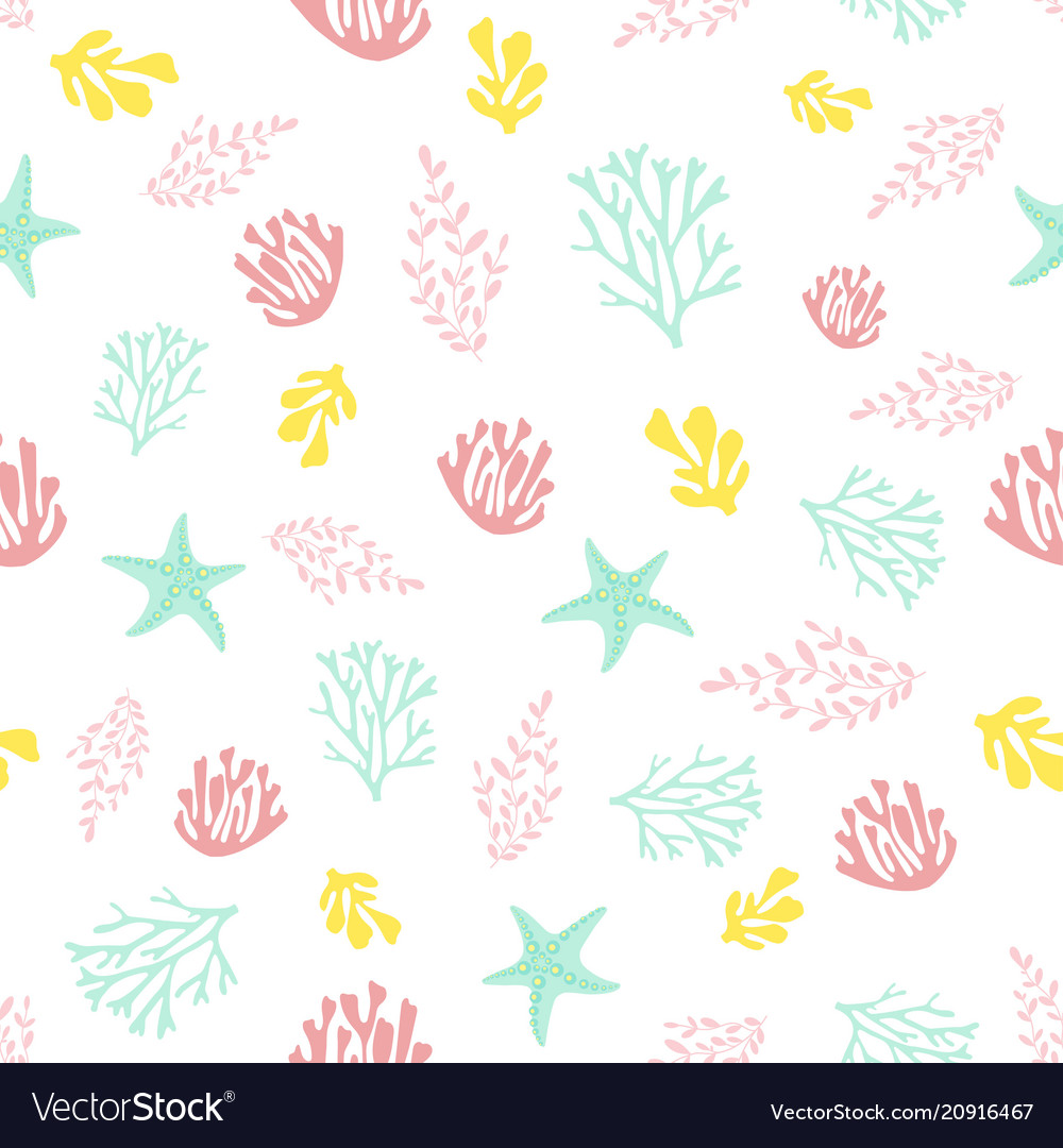 Seamless pattern with coral