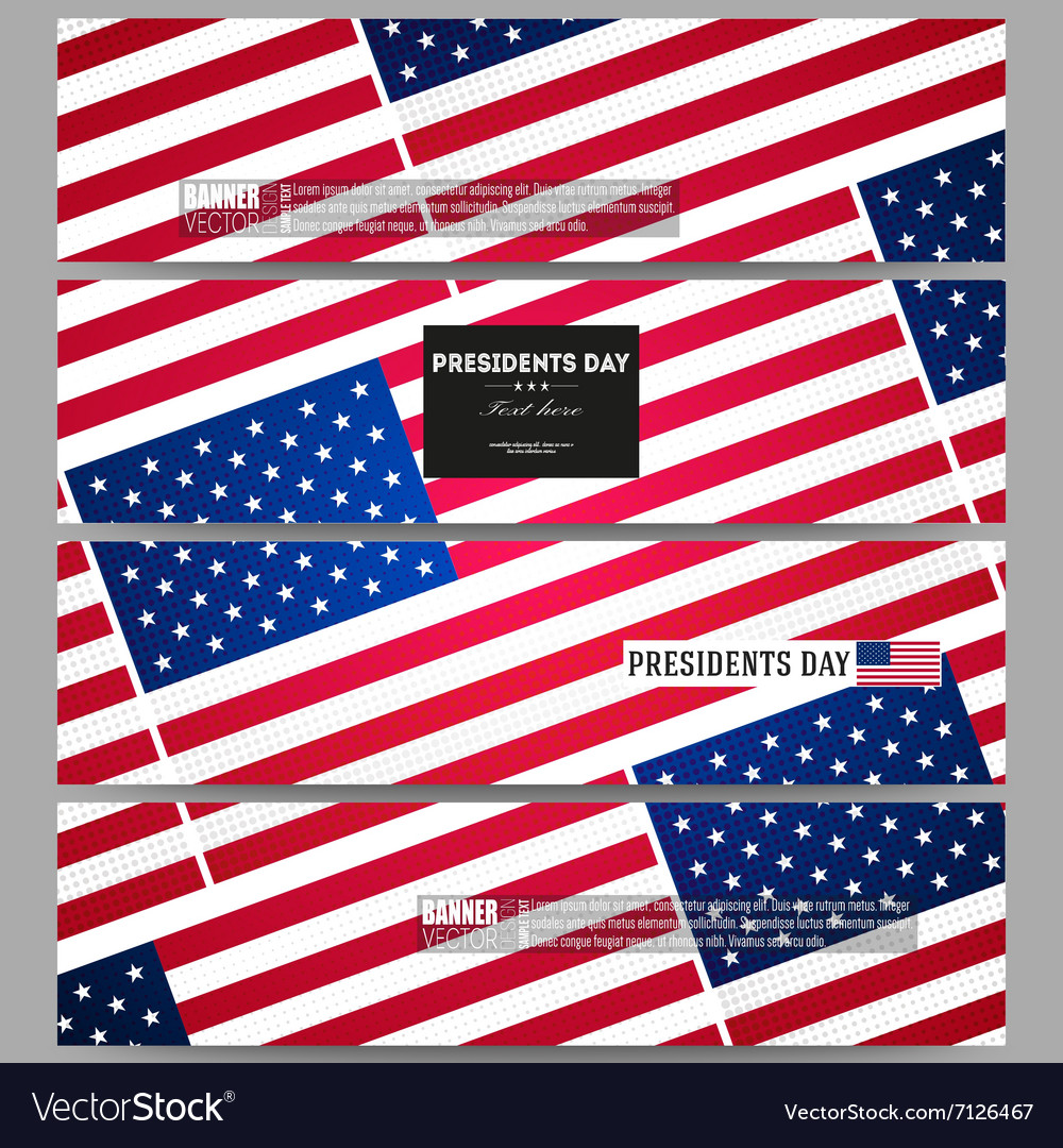 Set of modern banners Presidents day