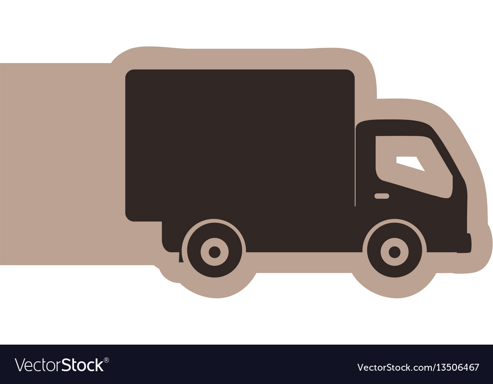 Silhouette emblem delivery car icon