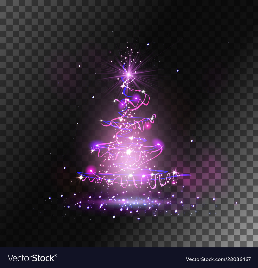 Transparent christmas tree from light and sparks