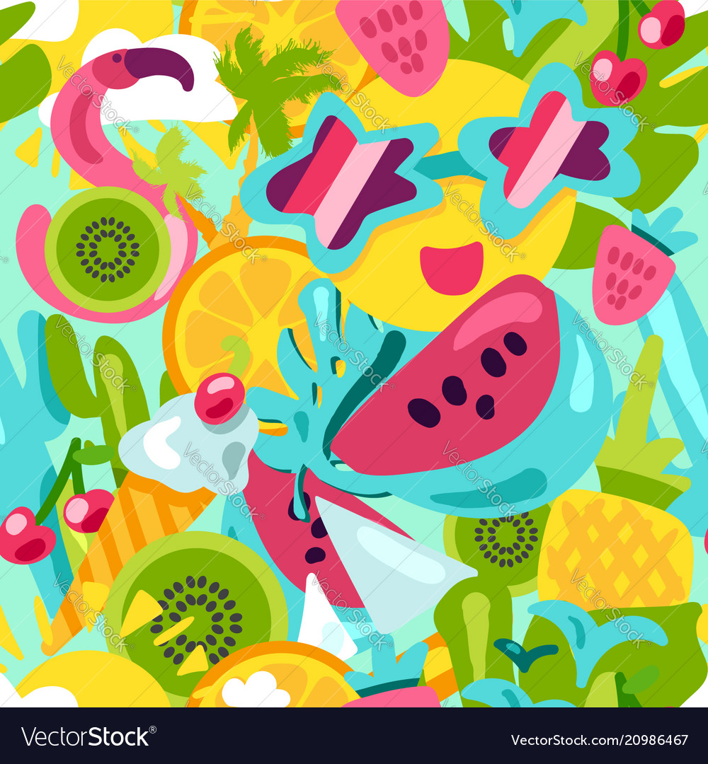 Tropical summer pattern bright fruits and berries