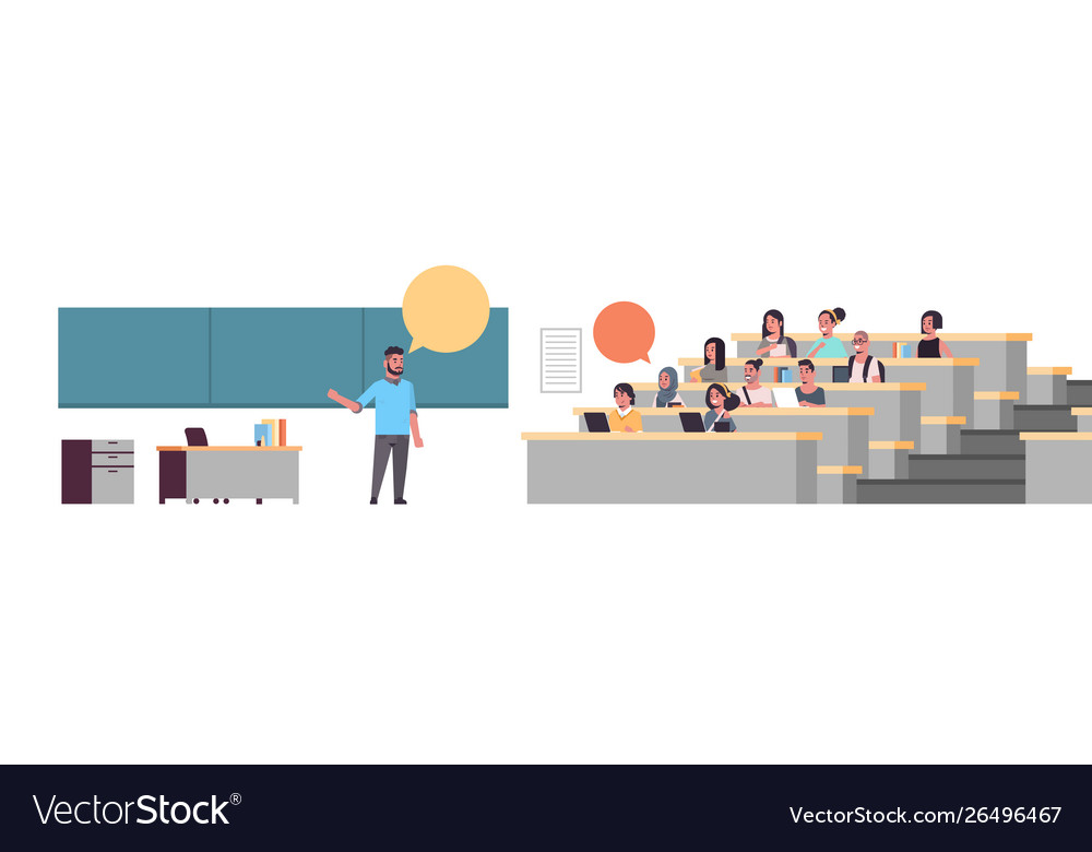 University professor over blackboard chat bubble