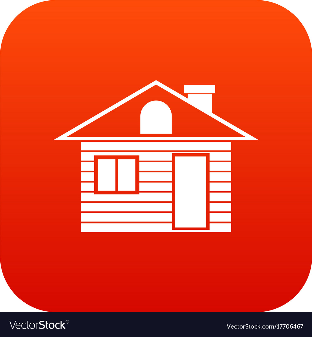 Wooden log house icon digital red