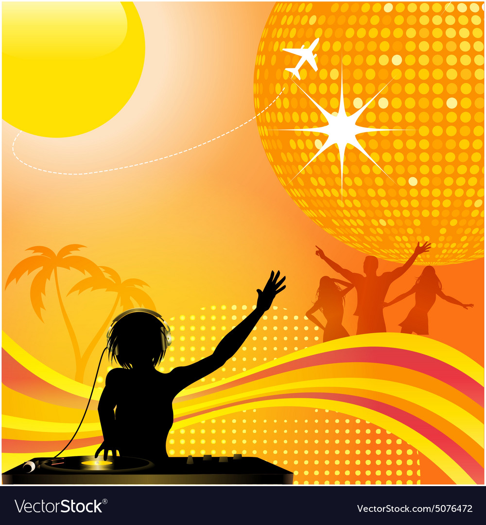 Abstract summer background with DJ and disco ball