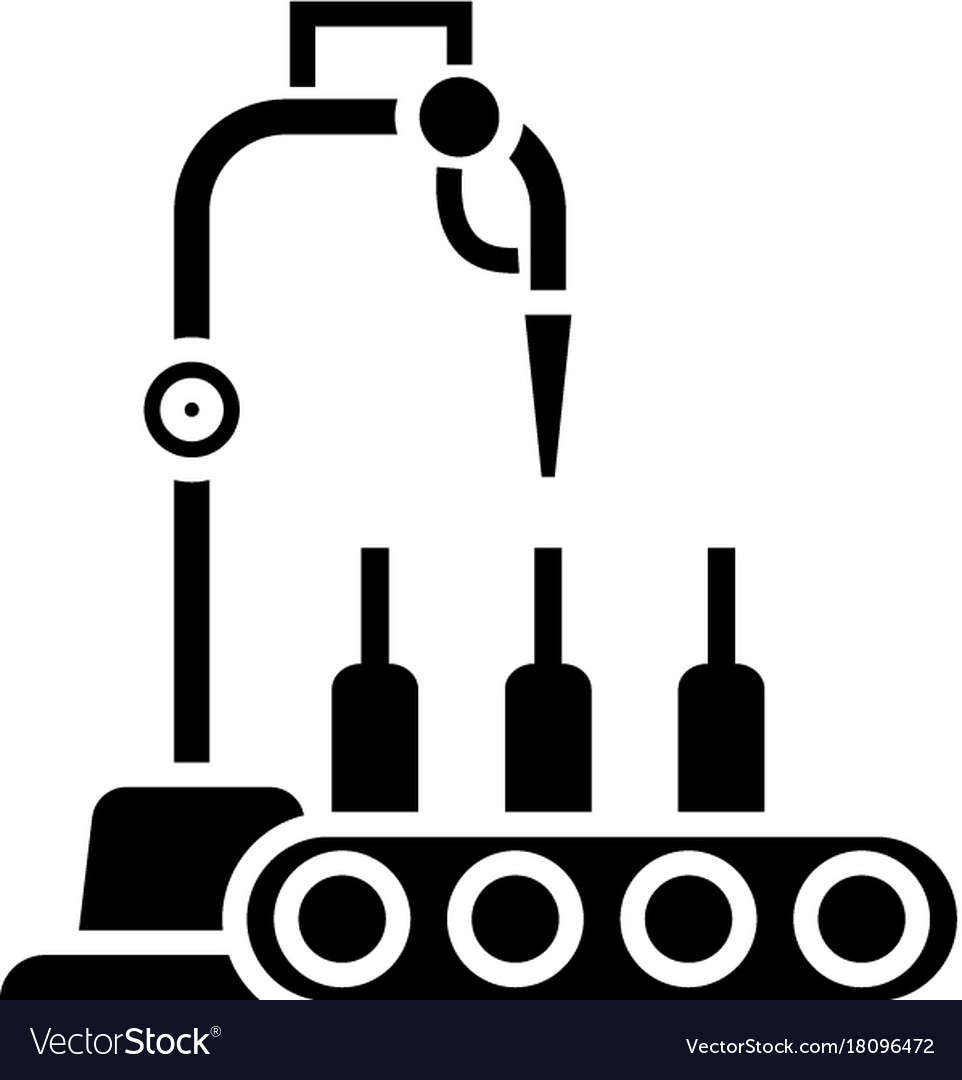 Bottling line icon black