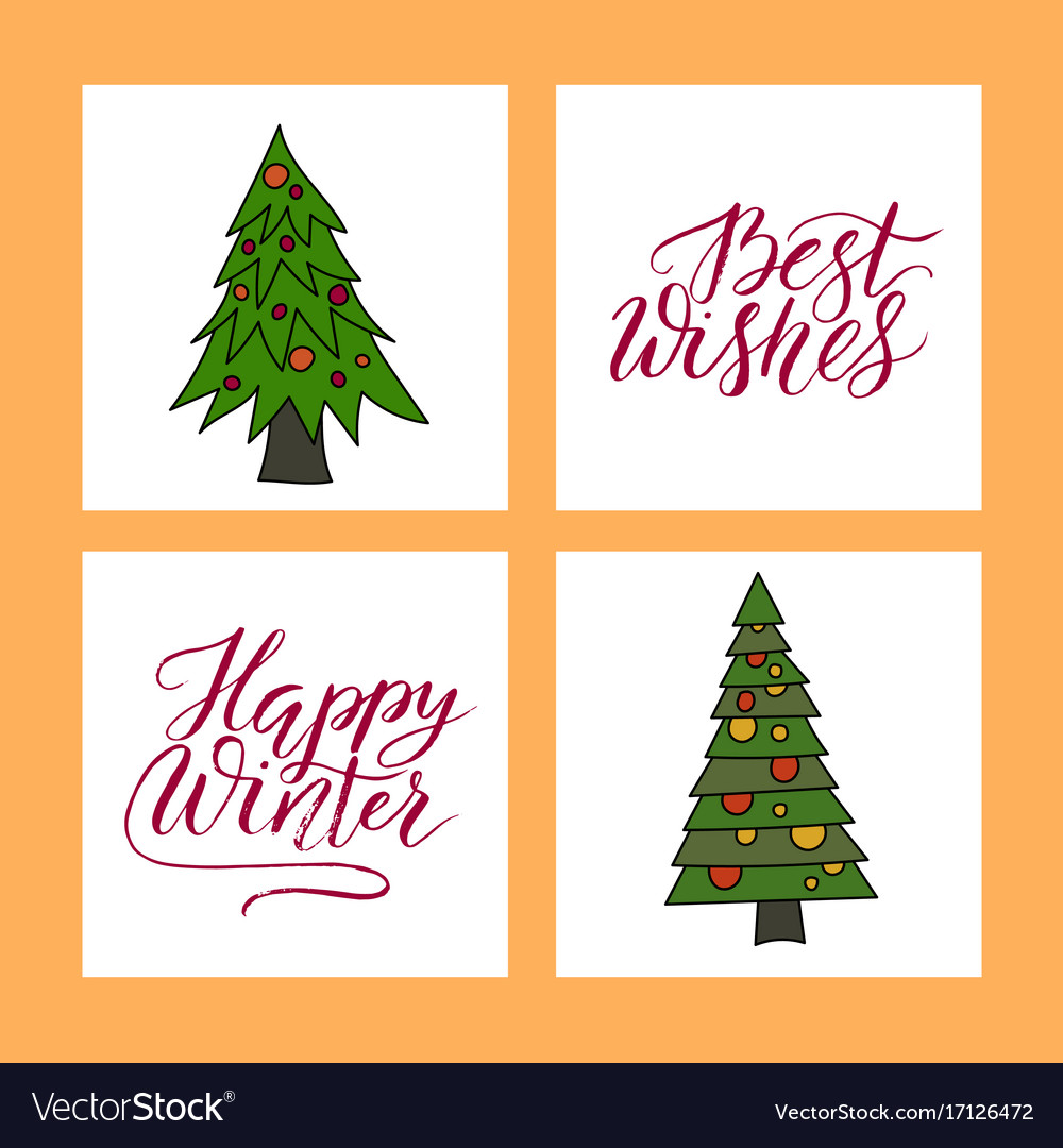 christmas card with hand lettering royalty free vector image