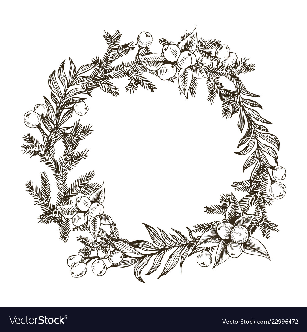 Decorative wreath made of branches and cones of