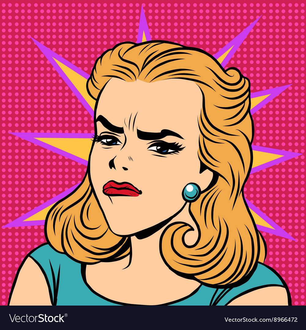 Emoji retro anger disgust girl emoticons vector image