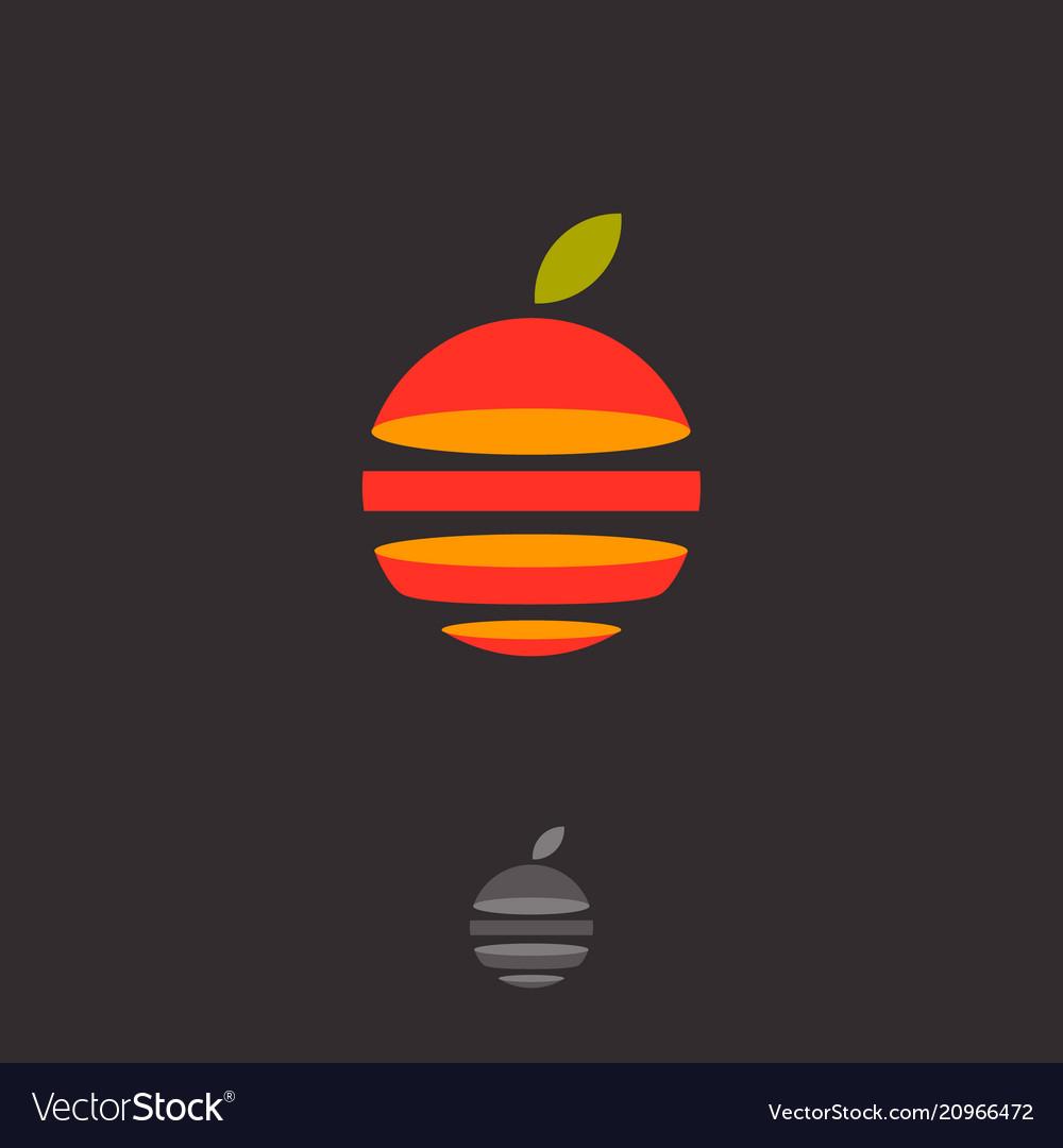 Fruit Logo Abstract Emblem Cut Orange Sphere