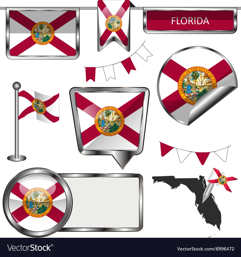 Glossy icons with Floridian flag