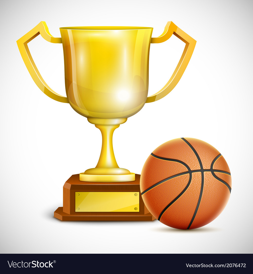 Golden Trophy Cup With Basketball