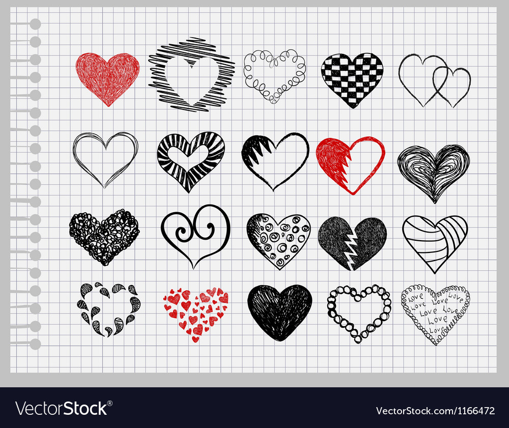 Hand-drawn hearts vector image