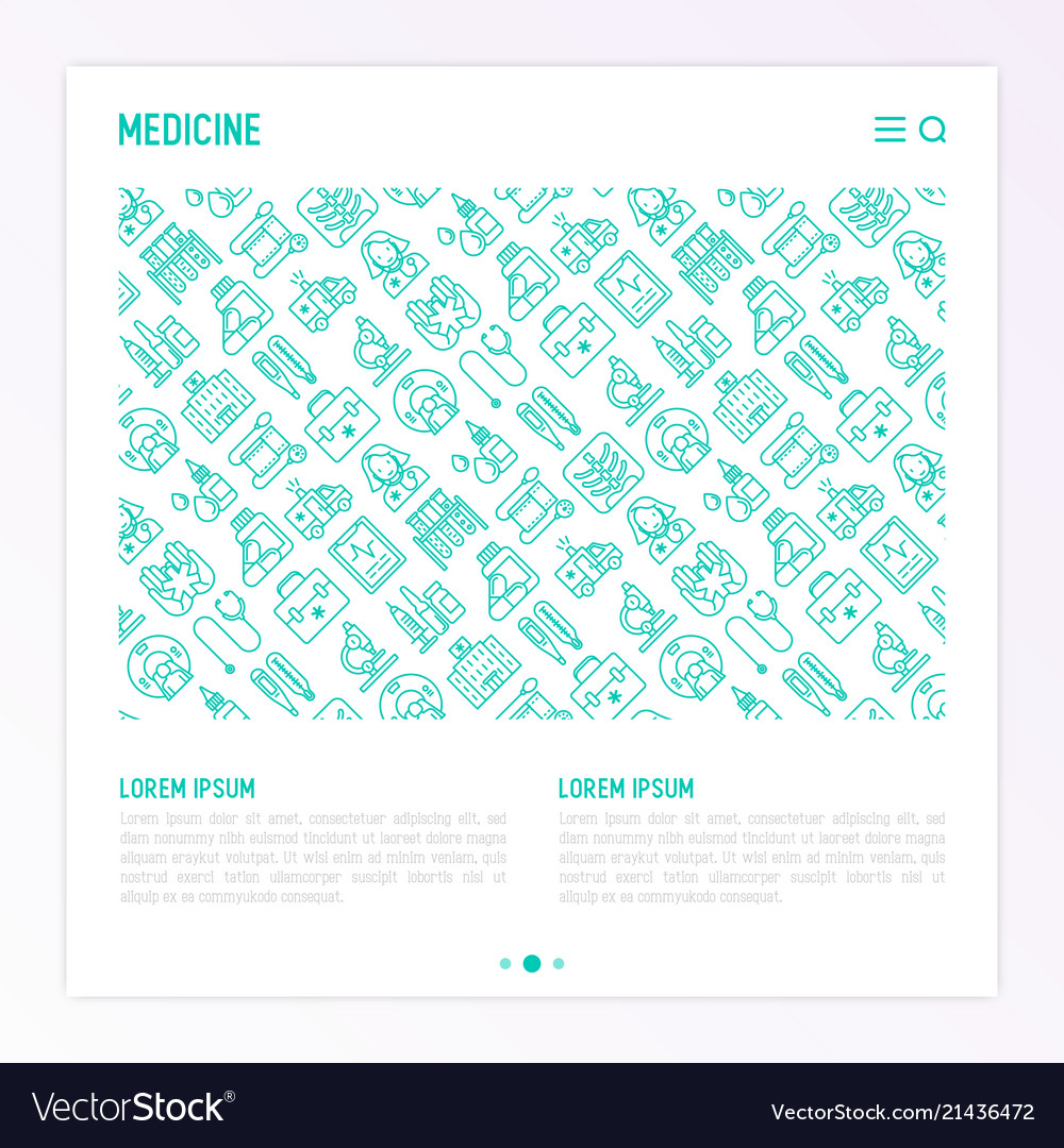 Medicine concept with thin line icons