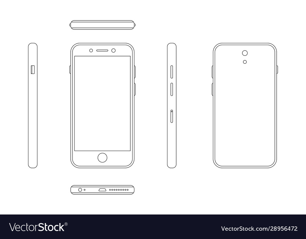 Modern smartphone outline view from four sides