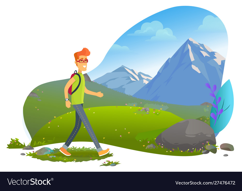 Mountain tourism hiker with backpack rock