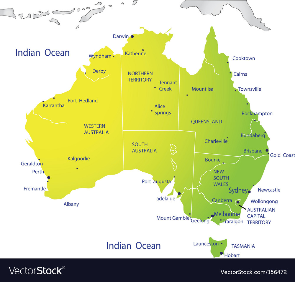 Political map of Australia Royalty Free Vector Image