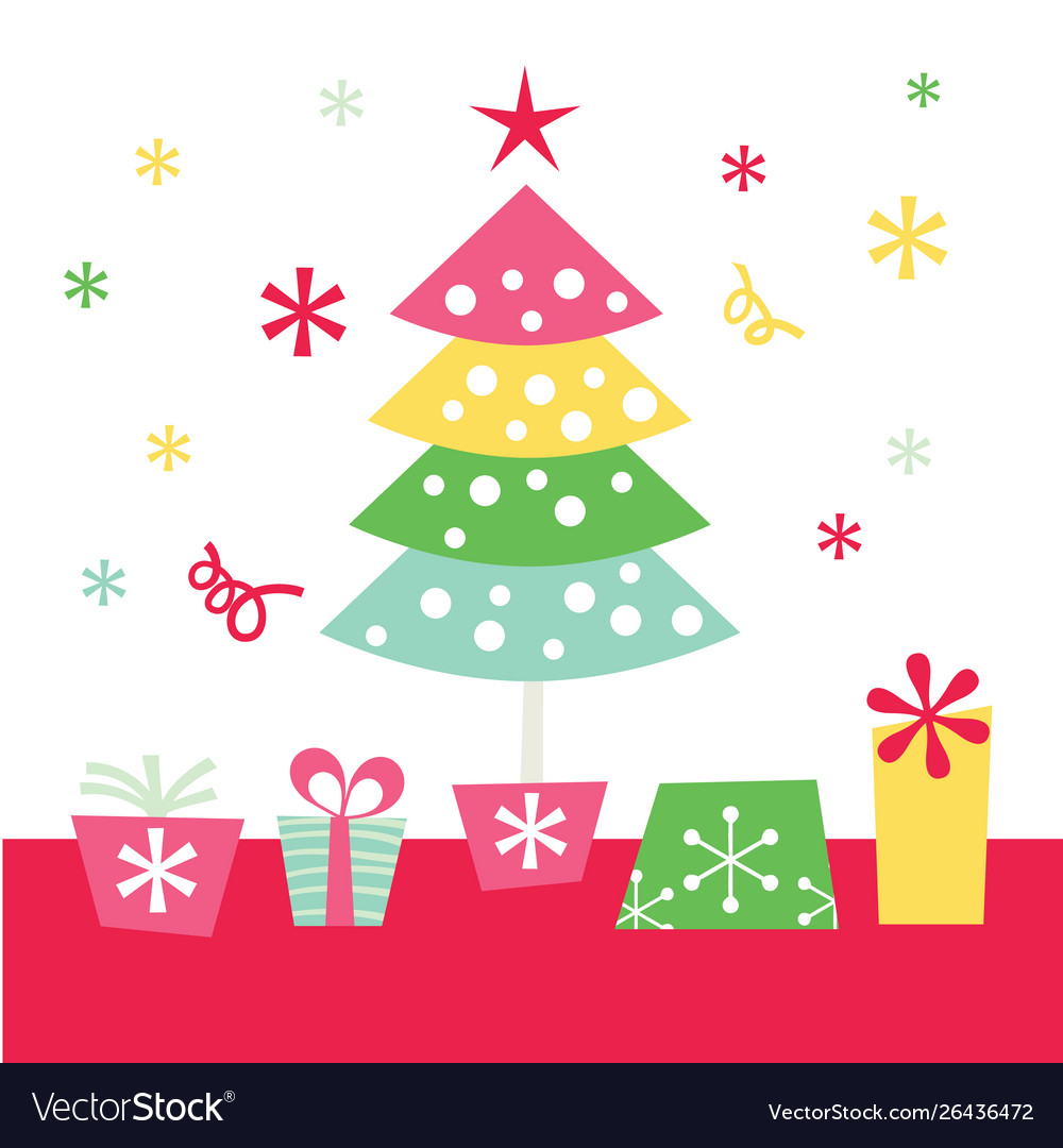 Retro Christmas Tree And Gifts Royalty Free Vector Image