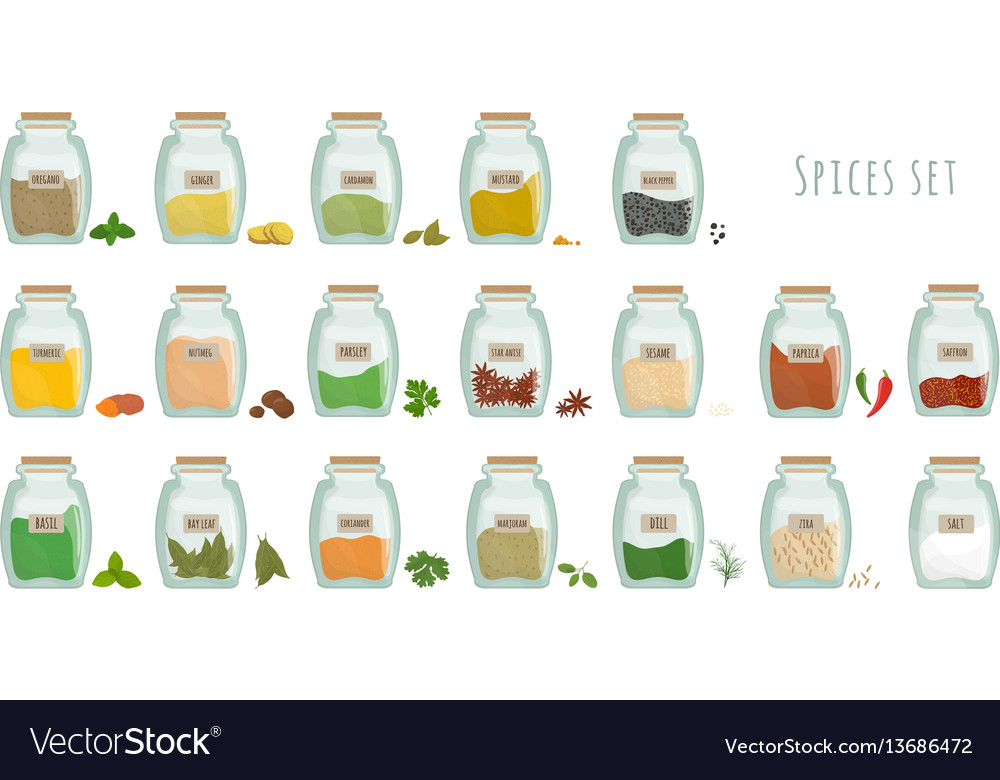Spices in jars big set collection flat