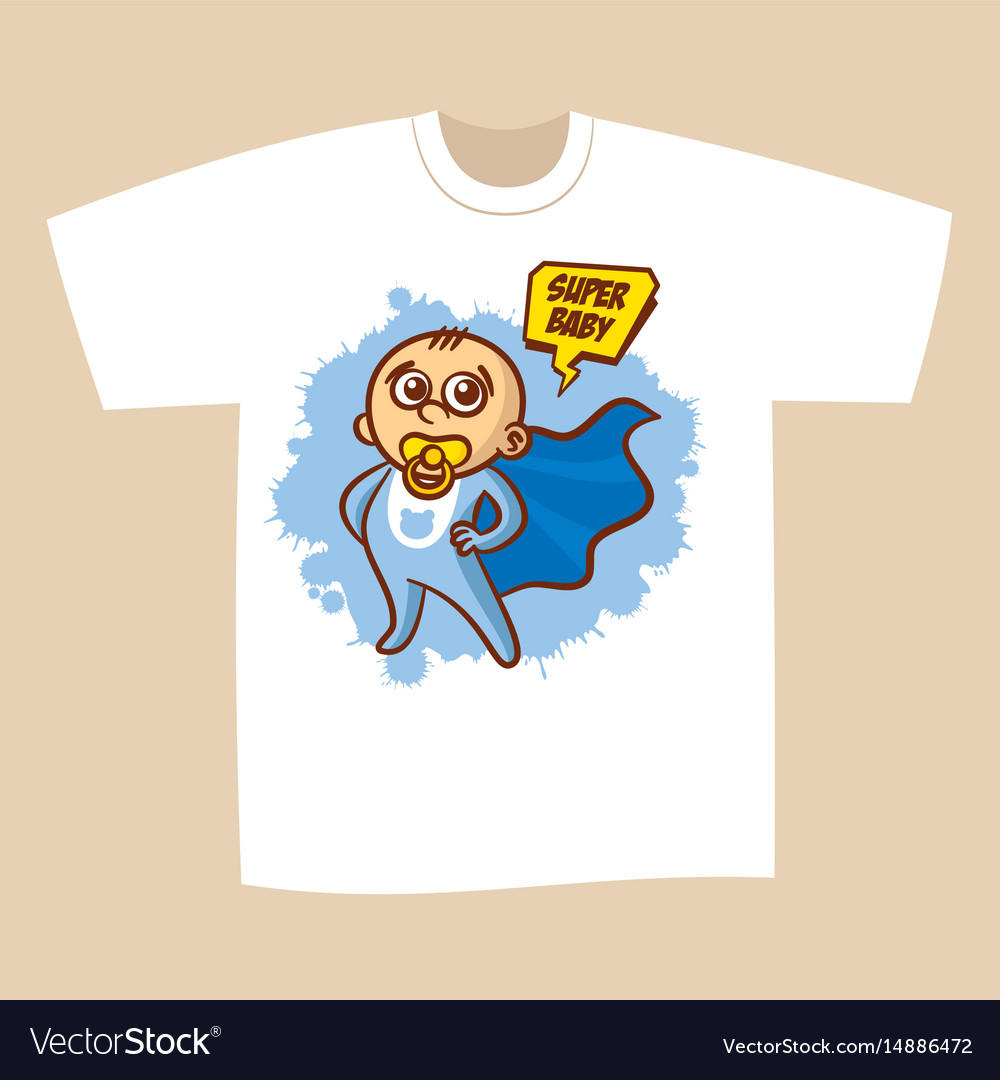 T Shirt Print Design Superhero Baby Boy Royalty Free Vector
