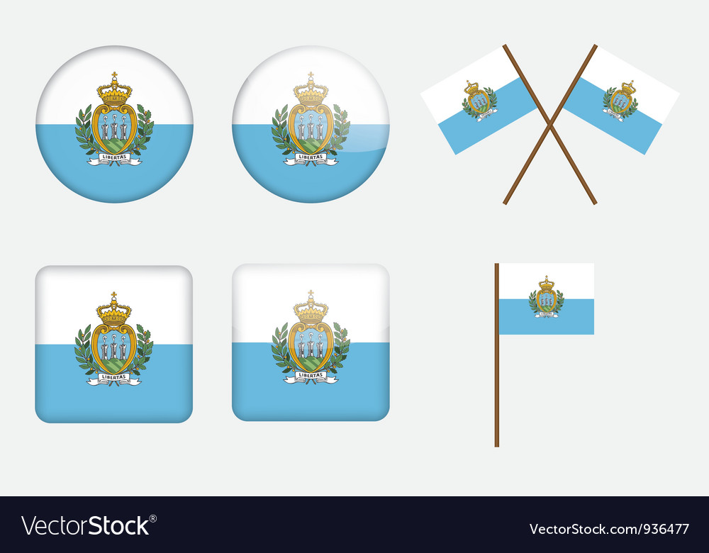 Badges with flag of San Marino