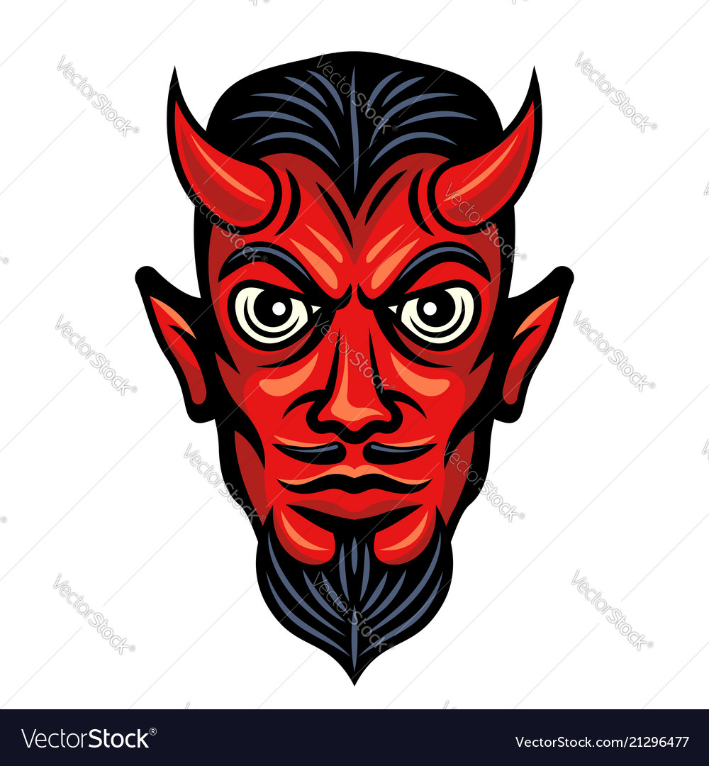 Devil head with horns colored