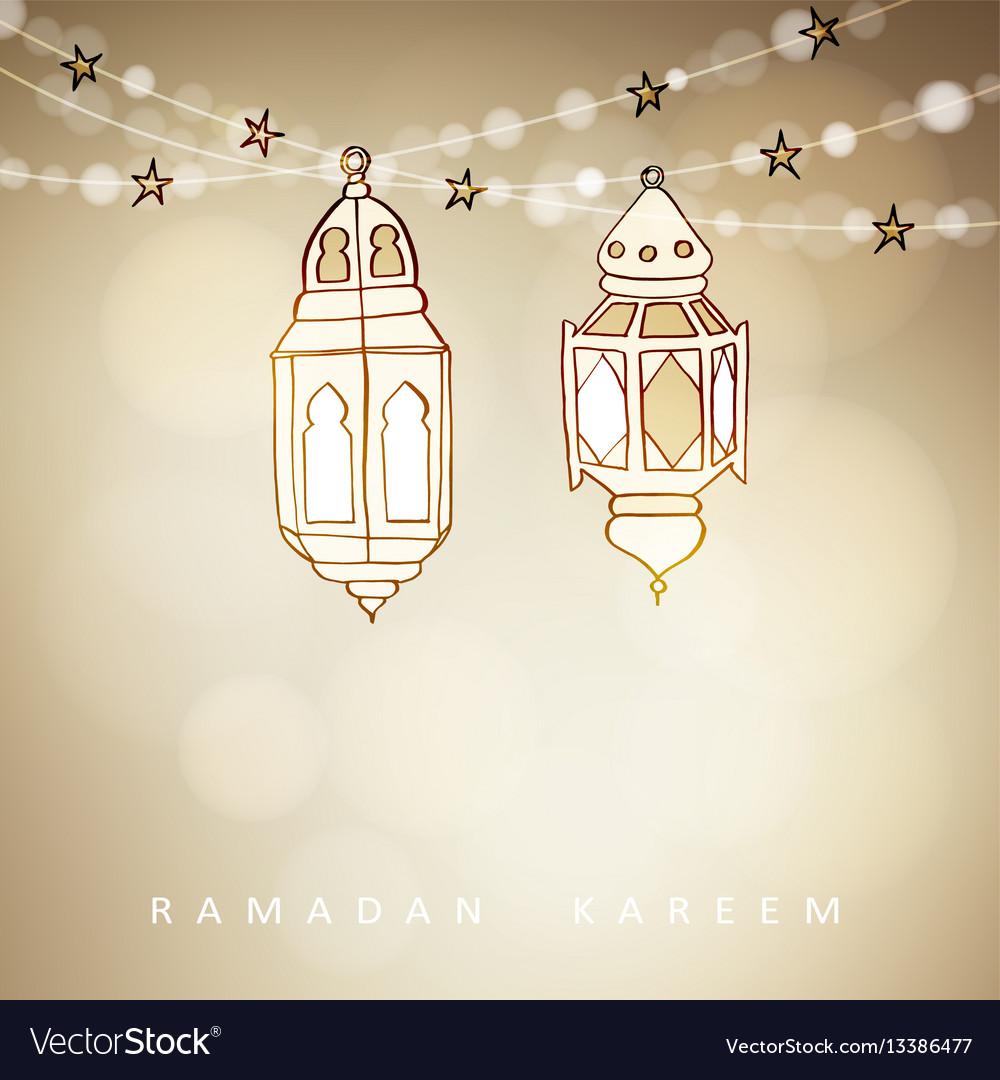 Hand drawn illuminated arabic lamps lanterns with