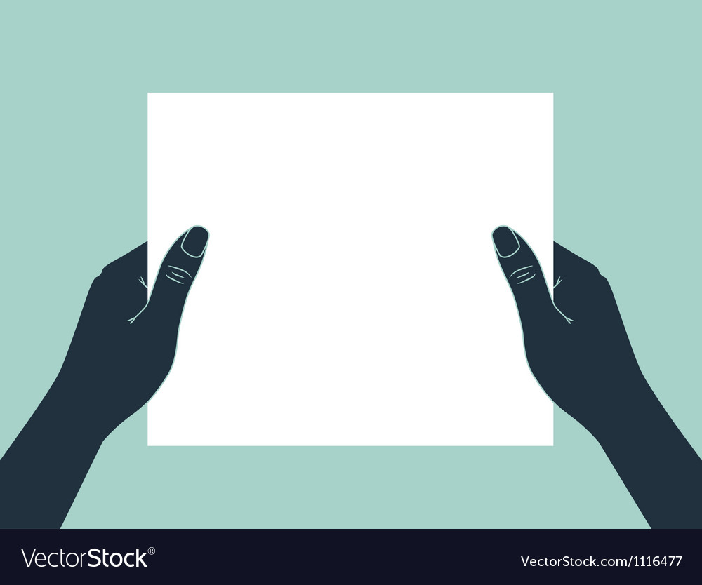 Hand holding blank paper vector image