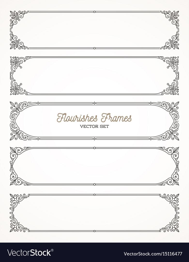 Set of flourishes calligraphic elegant frames