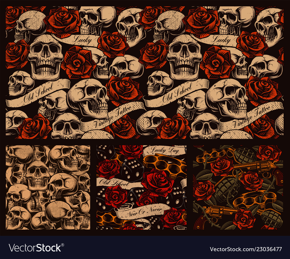 Set of seamless tattoo backgrounds with skulls Vector Image