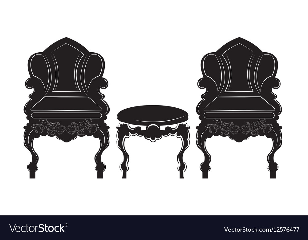 Vintage Gothic Style Armchair And Table
