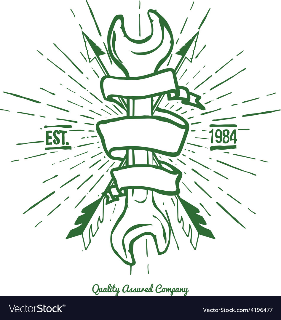 Vintage Hipster Logo Crossed Arrows and Wrench