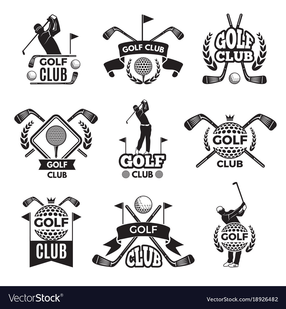 Badges or logos for golf club monochrome pictures