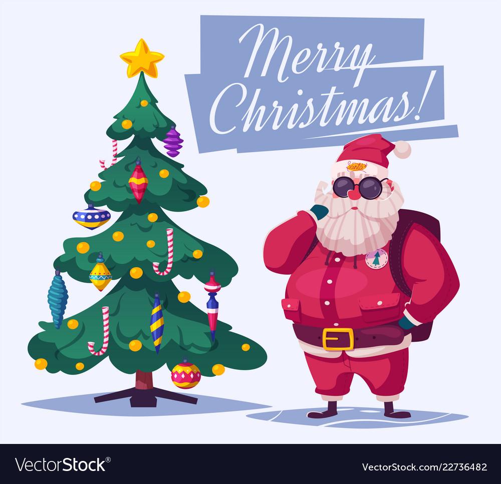 Beautiful christmas tree and santa