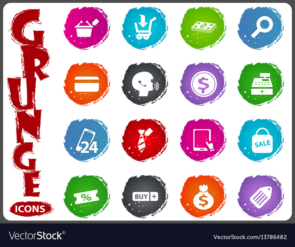 E-commerce icons set in grunge style