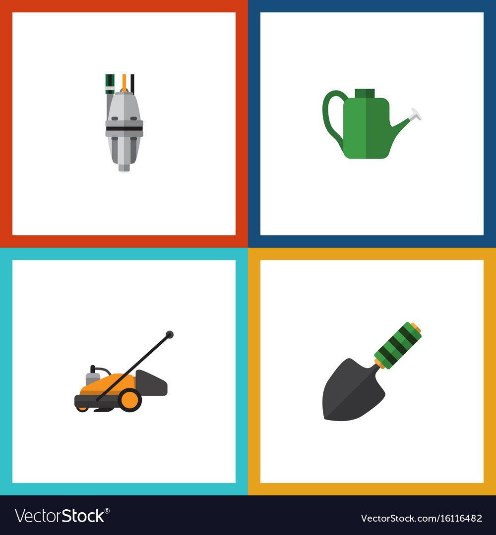 Flat icon dacha set of pump lawn mower bailer