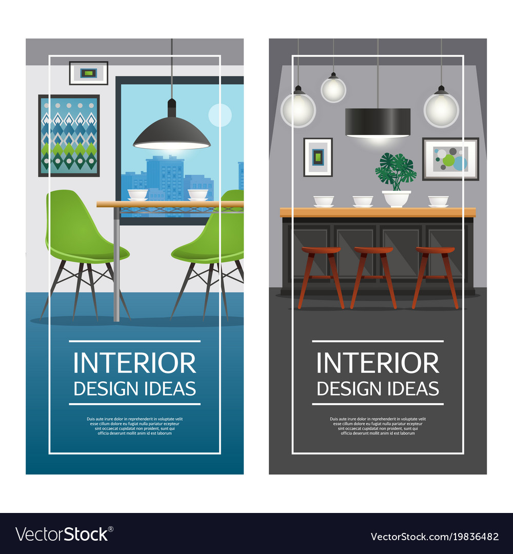 Kitchen interior design vertical banners Vector Image
