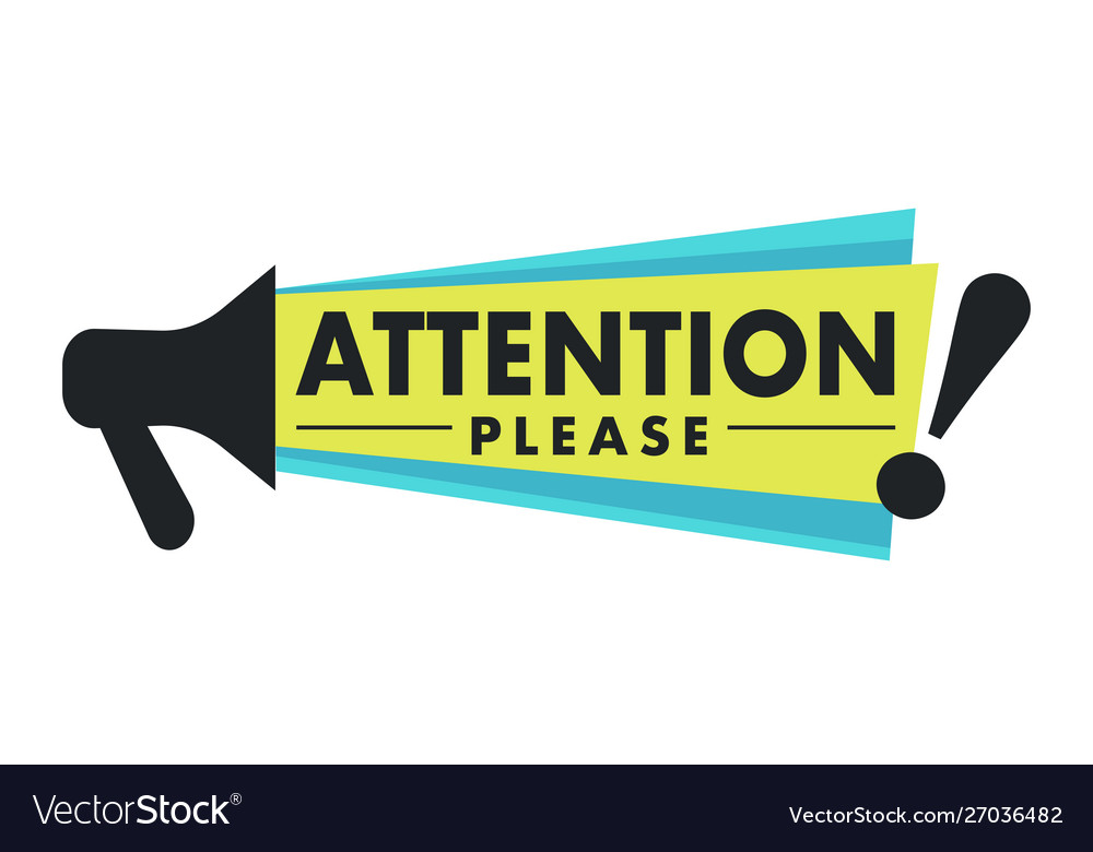 Megaphone and attention please sign isolated icon