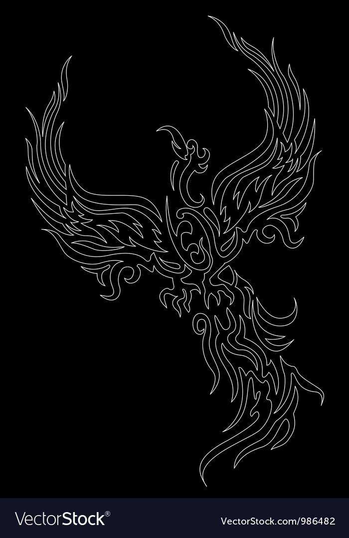 Mythical phoenix bird on dark background vector image