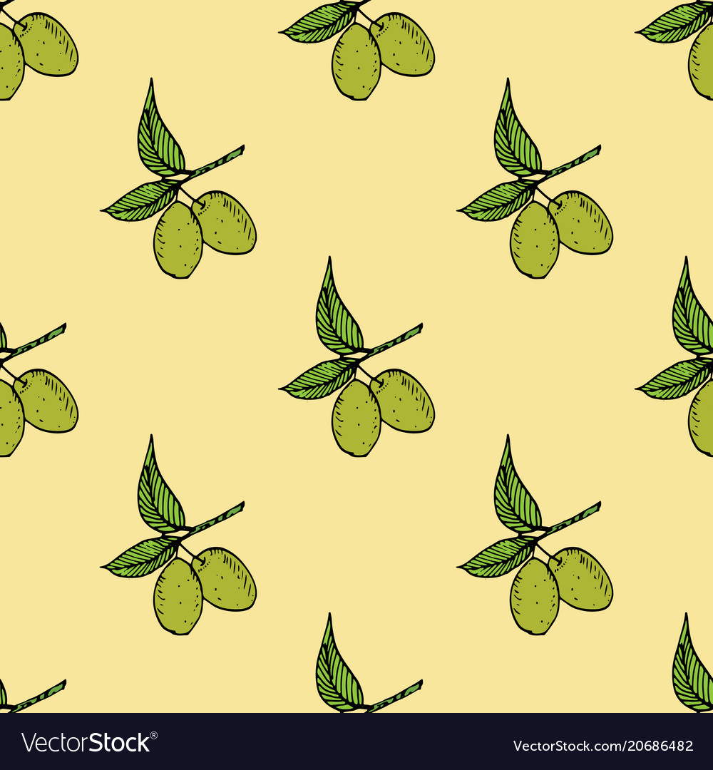 Olive branch seamless pattern natural background