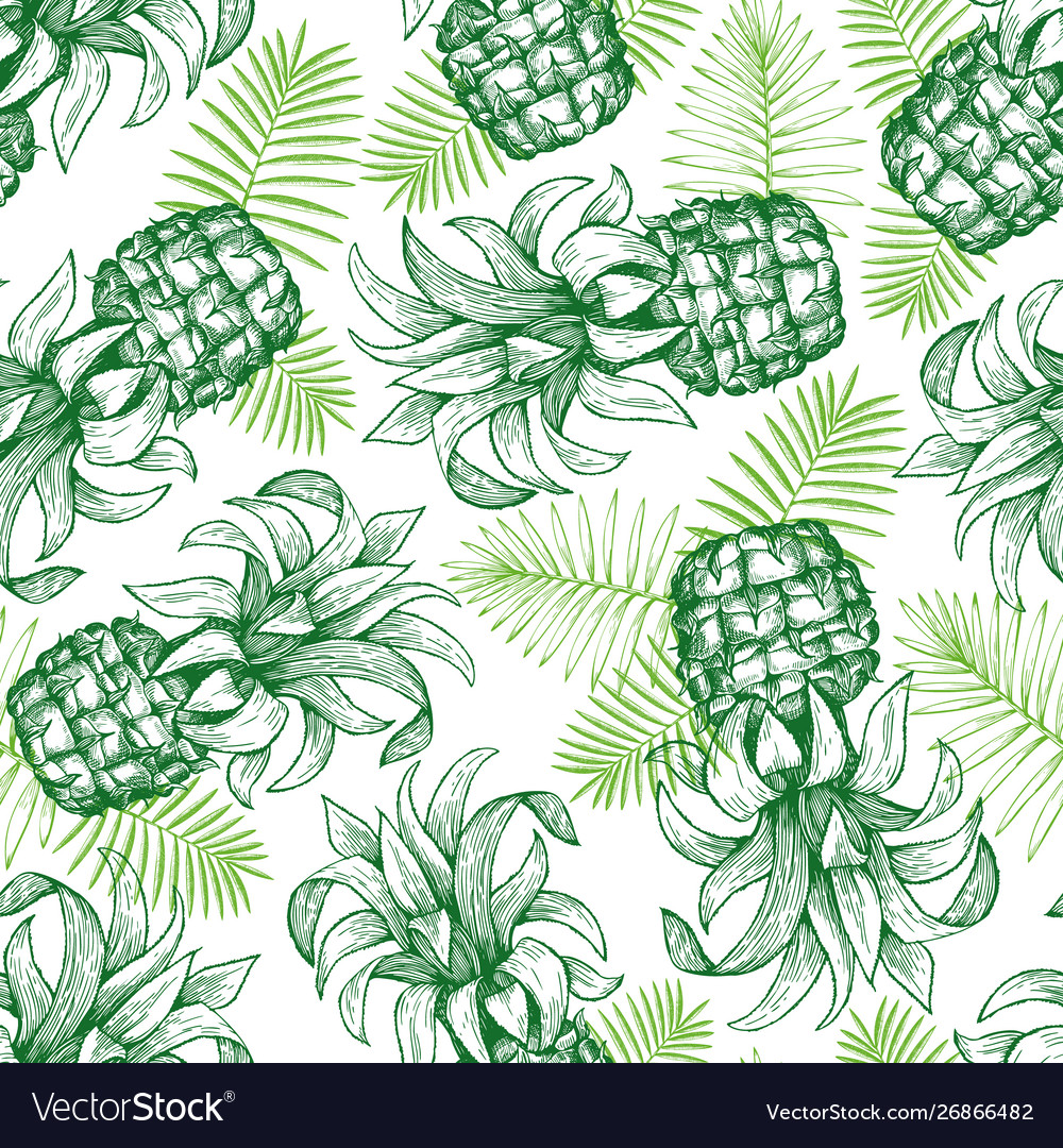 Pineapple seamless pattern hand drawn tropical