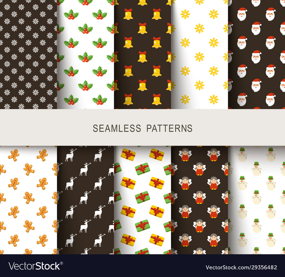 Seamless new years patterns brown and white