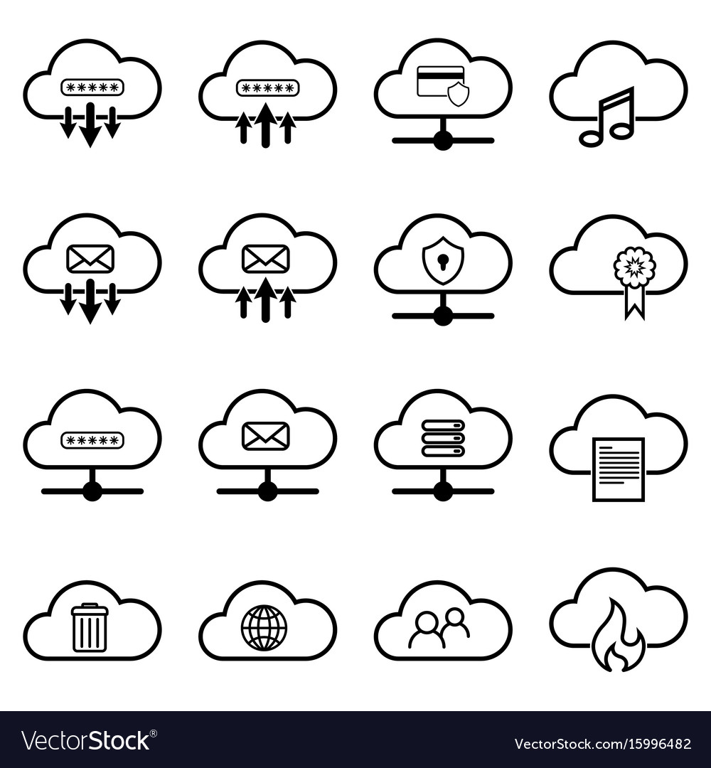 Set with cloud icons simple cloud pictograms on a